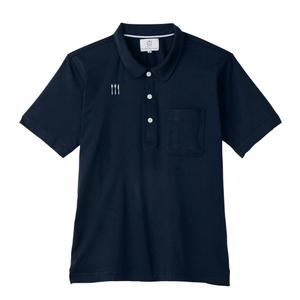 4K21002栗原はるみ×キラク/ ラウンドカラー介護用ニットシャツ男女兼用(E100)[ネイビー]