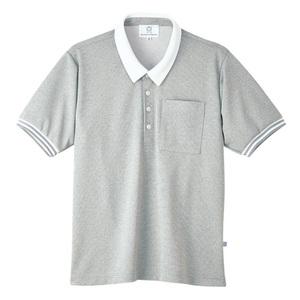4K21006栗原はるみ×キラク/ボーダーフライスニットシャツ男女兼用(E100)[グレーモク]