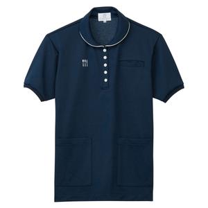 4K28002栗原はるみ×キラク/腰ポケット付き介護用レディスケアワークシャツ(E95C5)[ネイビー]