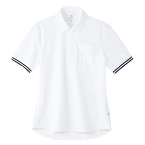 4K28003栗原はるみ×キラク/ボーダーフライスレディスニットシャツ(E100)[ホワイト]