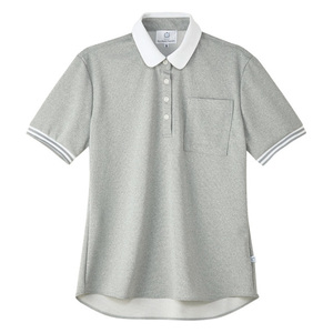 4K28003栗原はるみ×キラク/ボーダーフライスレディスニットシャツ(E100)[グレーモク]