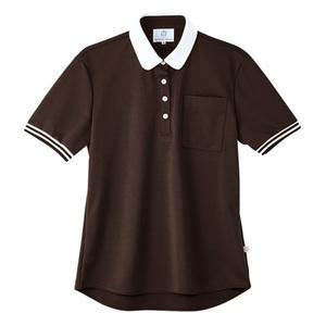 4K28003栗原はるみ×キラク/ボーダーフライスレディスニットシャツ(E100)[ダークブラウン]