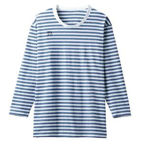 4K31001栗原はるみ×キラク/介護用ボーダーシャツ男女兼用(E100)[ネイビー×ホワイト]