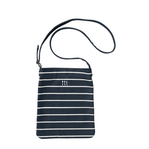 4K91002栗原はるみ×キラク/倉敷の帆布ボーダーショルダーバッグ(C100)[ネイビー]