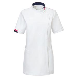 CM034理学療法士・作業療法士専用白衣レディスチュニック(ケーシー)E100[ホワイト×アマンドピンク]