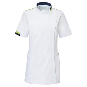 CM034理学療法士・作業療法士専用白衣レディスチュニック(ケーシー)E100[ホワイト×ライム]