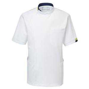 CM234理学療法士・作業療法士専用白衣メンズジャケット(ケーシー)E100[ホワイト×ライム]