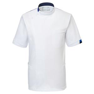 CM234理学療法士・作業療法士専用白衣メンズジャケット(ケーシー)E100[ホワイト×ロイヤルブルー]