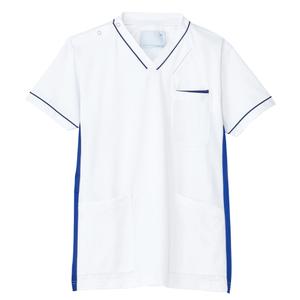 CM301スーパーストレッチ男女兼用ニットスクラブ(白)パイピング入E100[ホワイト×ロイヤルブルー]