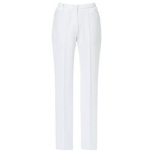 CM504スーパーストレッチ白衣レディス美脚ストレートパンツ(白)E95C5[ホワイト]