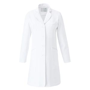 CM701調剤薬局衣WECURE薬剤師レディースコートパイピング入りE100[ホワイト×シルバー]