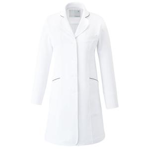 CM701調剤薬局衣WECURE薬剤師レディースコートパイピング入りE100[ホワイト×ネイビー]