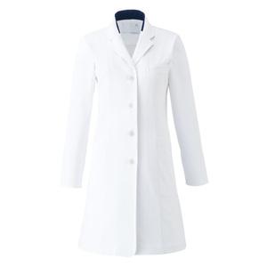 CM702調剤薬局衣WECURE薬剤師レディースコート切り替え入りE100[ホワイト×ネイビー]