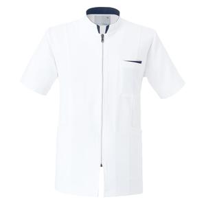 CM760調剤薬局在宅訪問薬局衣WECURE薬剤師半袖メンズジャケットE100[ホワイト×ネイビー]
