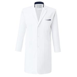 CM772調剤薬局衣WECURE薬剤師メンズコート切り替え入りE100[ホワイト×ネイビー]