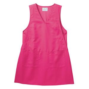 背中のびのびストレッチ地チュニック型介護エプロン(制電撥水 E100%)[ピンク]