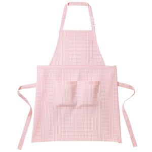 チェック柄胸当介護エプロン(撥水・撥油 E100%)[ピンク×ホワイト]
