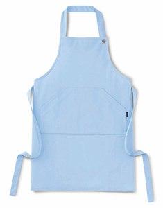 ストレッチ地胸当介護エプロン(制電撥水・防縮・E100%)[ブルー]