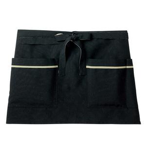 機能ポケット付腰巻きショート丈介護エプロン(撥水・撥油・防汚E100%)[ブラック]