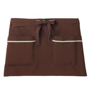 機能ポケット付腰巻きショート丈介護エプロン(撥水・撥油・防汚E100%)[ブラウン]