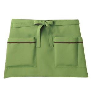 機能ポケット付腰巻きショート丈介護エプロン(撥水・撥油・防汚E100%)[オリーブ]