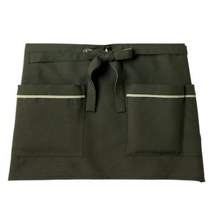 機能ポケット付腰巻きショート丈介護エプロン(撥水・撥油・防汚E100%)[ダークグリーン]