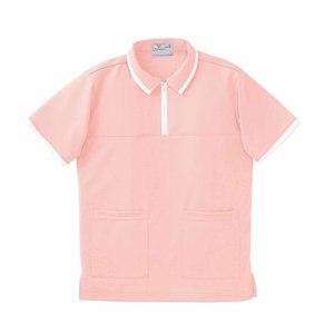 CR076前ファスナー男女兼用ケアワークシャツ(E85C15)[オレンジピンク]