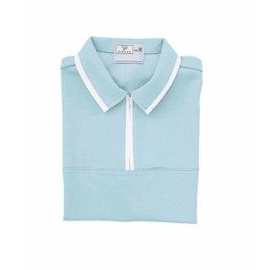 CR076前ファスナー男女兼用ケアワークシャツ(E85C15)[サックス]