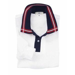 CR081介護用衿ポイント吸汗速乾長袖ポロシャツ男女兼用(E60C35N5)[ホワイト×ネイビー×レッド]