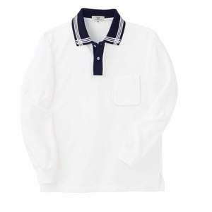 CR081介護用衿ポイント吸汗速乾長袖ポロシャツ男女兼用(E60C35N5)[ホワイト×ネイビー]