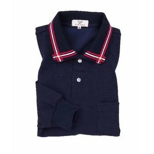 CR081介護用衿ポイント吸汗速乾長袖ポロシャツ男女兼用(E60C35N5)[ネイビー]