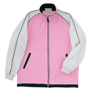 パイピング入介護用ジップアップケアワークシャツ(E95・C5)[ピンク]