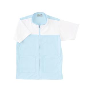 CR100介護看護PTOT向けケアワークシャツ男女兼用(E75C5)[サックス]