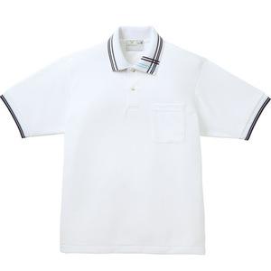 CR106アシメトリーライン入人気の介護用ポロシャツ男女兼用(E95C5)[ホワイト]