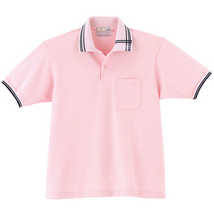 CR106アシメトリーライン入人気の介護用ポロシャツ男女兼用(E95C5)[ピンク]