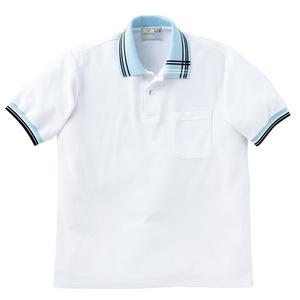 アシメトリーライン入介護用ポロシャツ男女兼用(E95・C5)[ホワイト×サックス]