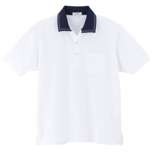 レインボーライン入介護用ポロシャツ男女兼用(E95・C5)[ホワイト]