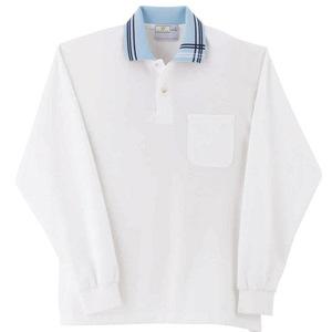 アシメトリーライン入介護用ポロシャツ男女兼用長袖(E95・C5)[ホワイト×サックス]