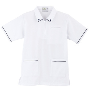 ボタンダウン風介護用ケアワークシャツ男女兼用(E95・C5)[ホワイト]