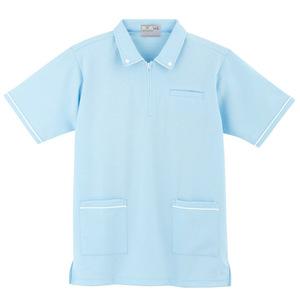 ボタンダウン風介護用ケアワークシャツ男女兼用(E95・C5)[サックス]