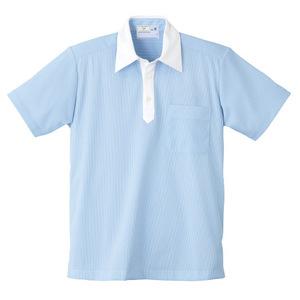 ストライプクレリック介護用ニットシャツ男女兼用(E85・C15)[サックス]