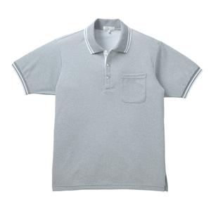 通気性抜群!涼しく汗染みが目立たない杢素材の介護用ポロシャツ男女兼用(E100)[グレーモク×ホワイト]
