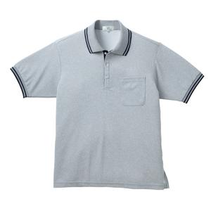 通気性抜群!涼しく汗染みが目立たない杢素材の介護用ポロシャツ男女兼用(E100)[グレーモク×ネイビー]