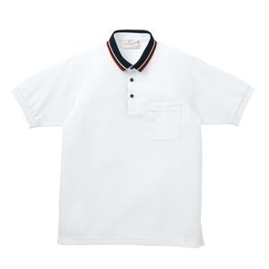 ライン入りスタイリッシュ介護用ポロシャツ(E95%C5%)[ホワイト]