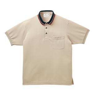 ライン入りスタイリッシュ介護用ポロシャツ(E95%C5%)[ベージュ]