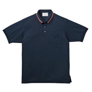ライン入りスタイリッシュ介護用ポロシャツ(E95%C5%)[ネイビー]