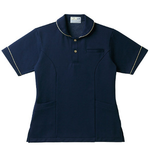 レディスパイピング入介護用ケアワークシャツ(E95・C5)[ネイビー]