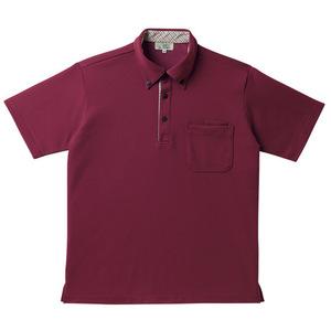 チェック切替介護用ニットシャツ男女兼用(E95・C5)[ワイン]