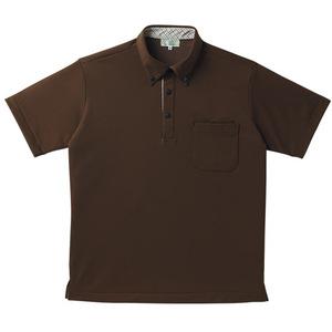 チェック切替介護用ニットシャツ男女兼用(E95・C5)[ブラウン]