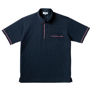 パイピング入介護用ニットシャツ男女兼用(E85・C15)[ネイビー×ピンク]